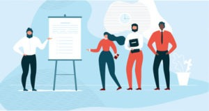 Four people giving a presentation illustration